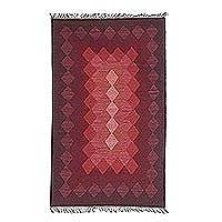 Wool dhurrie rug, 'Geometric Illusion in Red' - Geometric Design Wool Dhurrie Rug in Red and Wine Hues