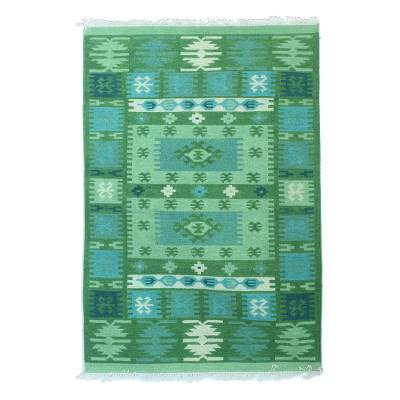 Wool area rug, 'Geometric Field in Green' - Handwoven Geometric Wool Area Rug in Green from India