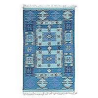 Wool area rug, 'Geometric Field in Blue' - Handwoven Geometric Wool Area Rug in Blue from India