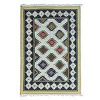 Wool area rug, 'Geometric Energy' - Handwoven Colorful Wool Area Rug from India