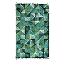 Wool area rug, 'Green Kaleidoscopic Triangles' - Handwoven Triangle Motif Wool Area Rug in Green from India
