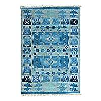 Wool area rug, 'Geometric Field in Blue' (4x6) - Geometric Wool Area Rug in Blue (4x6) from India