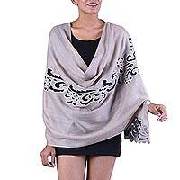 Wool blend shawl, 'Veiled Mystery' - Taupe Wool Blend Shawl with Cutouts and Embroidery