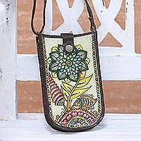 Leather cell phone bag, 'Floral Hideaway' - Leather Phone Bag Hand-Painted with Floral Motifs from India