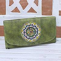 Leather wallet, 'Avocado Blossom' - Hand-Painted Floral Leather Wallet in Avocado from India