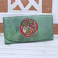 Leather wallet, 'Aquatic Charm' - Hand-Painted Leather Wallet in Celadon from India