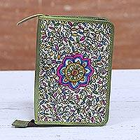 Leather passport wallet, 'Song of Life in Olive' - Floral Leather Passport Wallet in Olive from India