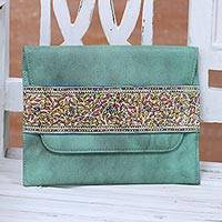 Leather clutch, 'Celadon Style' - Handcrafted Leather Clutch in Celadon from India