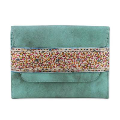 Novica Leather clutch, Celadon Style