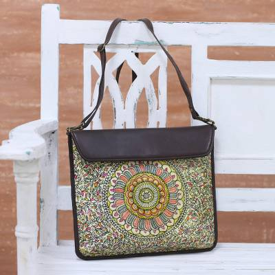 Leather tablet bag, 'Garden Allure' - Hand-Painted Floral Leather Tablet Bag from India