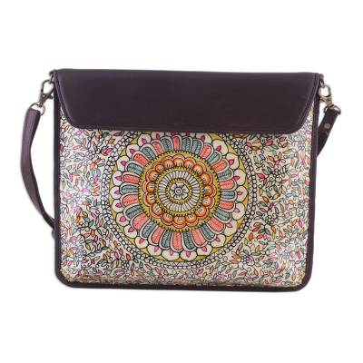 Hand-Painted Floral Leather Tablet Bag from India