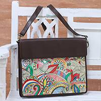 Leather tablet bag, 'Dreamy Charm' - Hand-Painted Adjustable Leather Tablet Bag from India