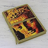 Cotton-bound journal, 'Praying Buddha' - Handmade Paper and Cotton Journal with Buddha Theme