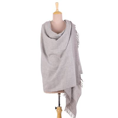 Wool blend shawl, 'Discreet Grey Stripes' - Wool Blend Grey and Ivory Knitted Pin Stripe Shawl