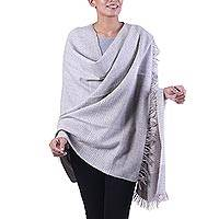 Wool blend shawl, 'Discreet Taupe Stripes' - India Wool Blend Taupe and Ivory Pin Stripe Knitted Shawl