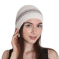 Angora wool blend cap, 'Himalayan Snowstorm' - Hand Woven Angora Wool Blend Striped Knit Beanie from India