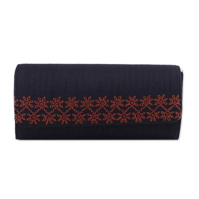 Onyx Black Clutch Handbag with Orange Embroidery