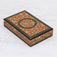 Decorative wood box, 'Kashmir Valley of Flowers' - Hand Painted Decorative Velvet Lined Wood Box from India