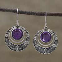 Amethyst dangle earrings, 'Leafy Crescents' - Amethyst Leaf Motif Dangle Earrings from India