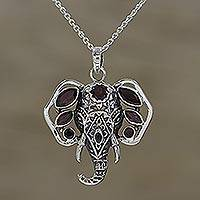 Garnet pendant necklace, 'Radiant Ganesha' - Garnet and Silver Ganesha Pendant Necklace from India