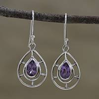 Amethyst dangle earrings, 'Droplet Spokes' - Faceted Amethyst Droplet Dangle Earrings from India