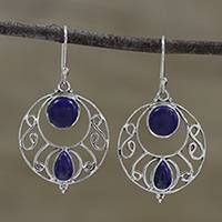 Lapis lazuli dangle earrings, 'Blue Majesty' - Round Lapis Lazuli and Silver Dangle Earrings from India