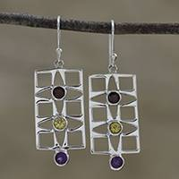 Multi-gemstone dangle earrings, 'Intriguing Frames' - Rectangular Multi-Gemstone Dangle Earrings from India