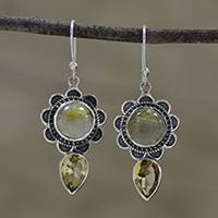 Quartz and citrine dangle earrings, 'Floral Glisten' - Floral Quartz and Citrine Dangle Earrings from India