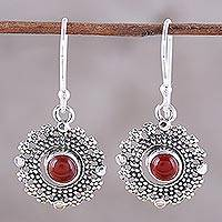 Carnelian dangle earrings, 'Bubbly Red Moons' - Carnelian and Silver Bubbly Dangle Earrings from India