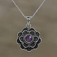 Amethyst pendant necklace, 'Purple Dahlia' - Adjustable Floral Amethyst Pendant Necklace from India
