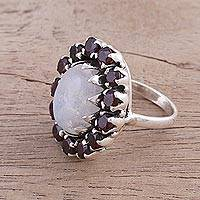 Garnet and rainbow moonstone cocktail ring, 'Glamorous Sun' - Garnet and Rainbow Moonstone Cocktail Ring from India