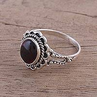 Garnet cocktail ring, 'Red Gloss' - Garnet and Sterling Silver Cocktail Ring from India