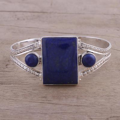 6b6134f9336 Lapis lazuli cuff bracelet, 'Crisscross Magic' - Lapis Lazuli and Sterling  Silver Cuff