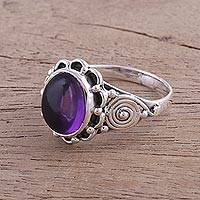 Amethyst cocktail ring, 'Purple Gloss' - Amethyst and Sterling Silver Cocktail Ring from India
