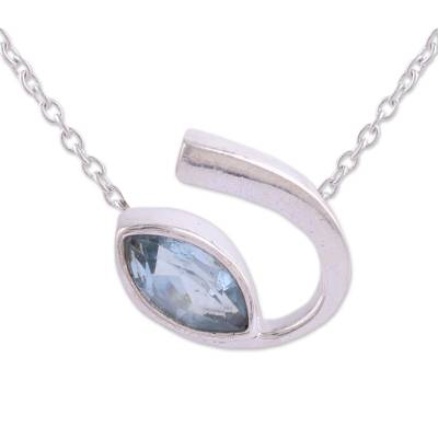 Faceted Blue Topaz Pendant Necklace from India