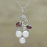 Rhodium plated garnet and cultured pearl pendant necklace, 'Glamour in Purity'