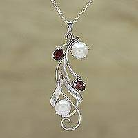 Rhodium plated garnet and cultured pearl pendant necklace, 'Eternal Glamour' - Leafy Garnet and Cultured Pearl Pendant Necklace from India