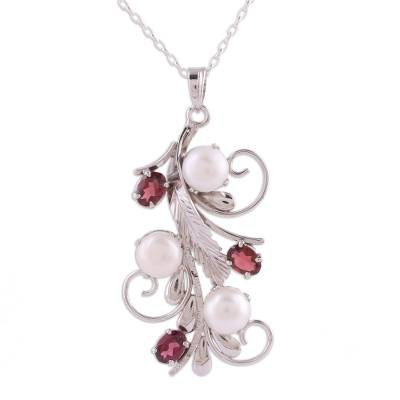 Rhodium plated garnet and cultured pearl pendant necklace, 'Royal Vine' - Rhodium Plated Cultured Pearl and Garnet Necklace from India