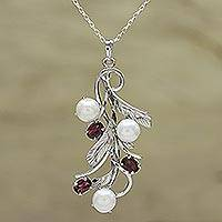 Rhodium plated garnet and cultured pearl pendant necklace, 'Blissful Nature' - Cultured Pearl and Faceted Garnet Necklace from India