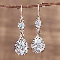 Rhodium plated blue topaz dangle earrings, 'Azure Glimmer'
