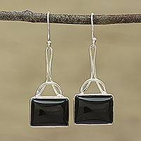 Onyx dangle earrings, 'Mystical Gaze in Black' - Black Onyx Rectangular Dangle Earrings from India