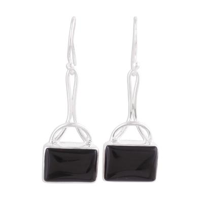 Onyx dangle earrings, 'Mystical Gaze in Black' - Black Onyx Rectangular Dangle Earrings from India
