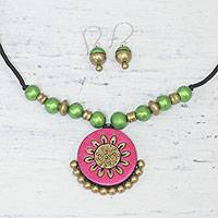 Ceramic jewelry set, 'Floral Glamour' - Handcrafted Floral Ceramic Jewelry Set from India
