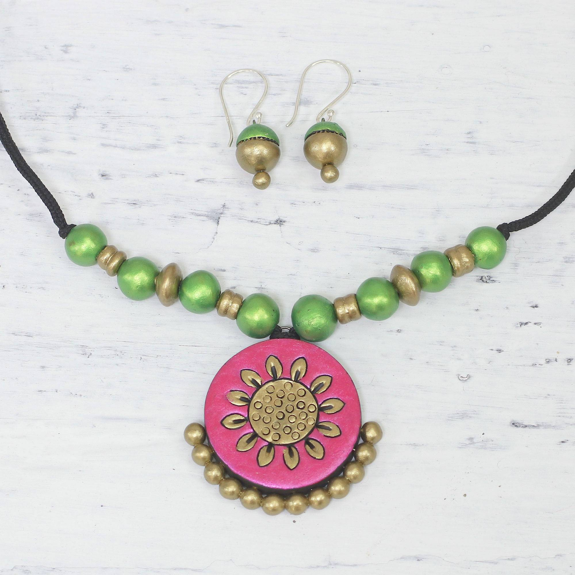 0deafc05f Handcrafted Floral Ceramic Jewelry Set from India - Floral Glamour ...
