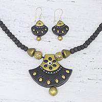Ceramic jewelry set, 'Seductive Fans' - Painted Ceramic Jewelry Set in Gold and Black form India