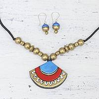 Ceramic jewelry set, 'Colorful Fan' - Painted Colorful Ceramic Jewelry Set from India
