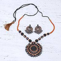Ceramic jewelry set, 'Sunflower Majesty' - Handcrafted Floral Ceramic Jewelry Set from India