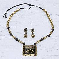 Ceramic jewelry set, 'Golden Floral Squares' - Handmade Floral Gold-Tone Ceramic Jewelry Set from India