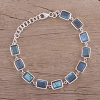 Labradorite link bracelet, 'Natural Rectangles' - Labradorite and Sterling Silver Link Bracelet from India