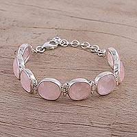 Rose quartz link bracelet, 'Pink Allure' - Rose Quartz and Sterling Silver Link Bracelet from India
